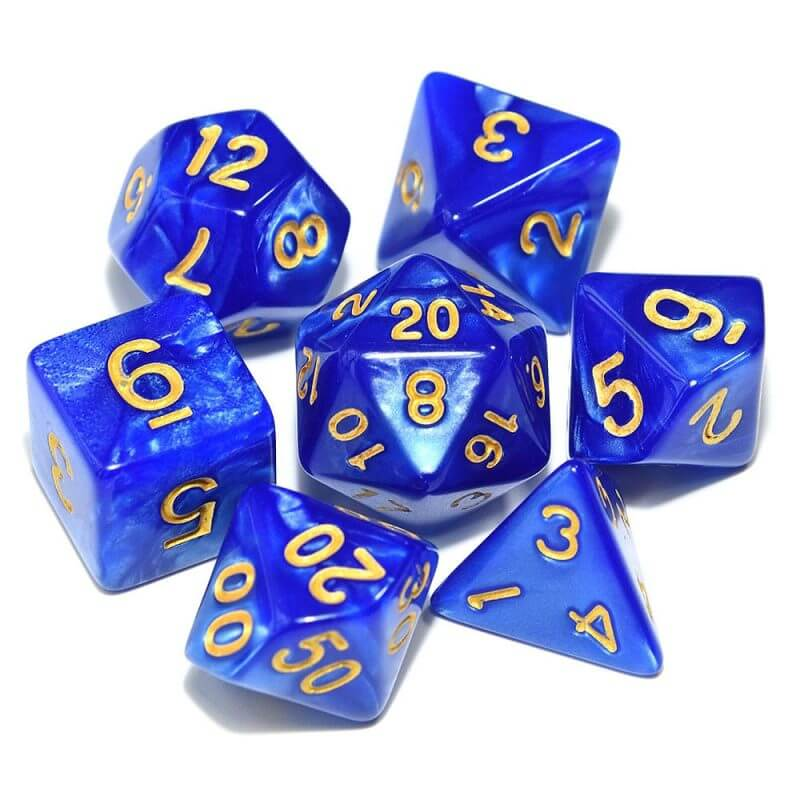 DND Blue and Gold Dice